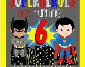 Superman Birthday/Batman Birthday/DC Comics/DC Comic Invite/Batman/Superman/Birthday Supplies/Birthday Invite/Birthday Invitation/Baby Boy