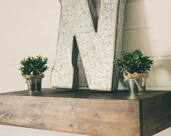 Wood Floating Shelf - Mantle Style | Rustic Mantle Shelf | Rustic Floating Shelf | Floating Shelves