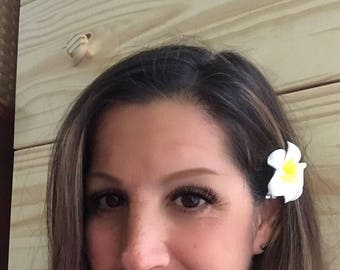 """Plumeria Hawaiian flower hair clips pair small size artificial frangipani foam barrettes 1.5"""" beach luau tropical destination wedding hair"""