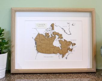 Custom Map of Canada, Map of Canada, Laser Cut Map, Canada Map Art, Map Wall Art, Custom Canada Map, Canada Home Decor, 8x10 or A4