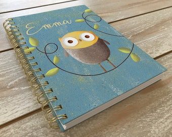 Kids journal / Owl / Owl Notebook / Personalized / Owl Artwork / Original Art / Personalize Cover