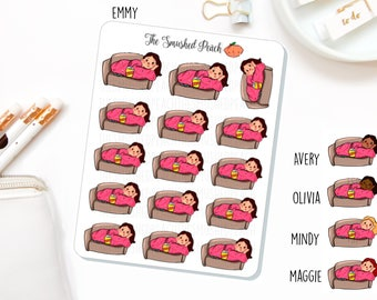 Lazy Day Couch Potato - Hand Drawn Planner Sticker Sheet