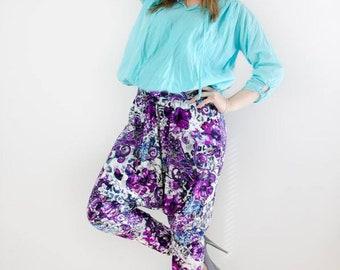Cotton harem pants/Harem pants/ Women's pants/ Fashionable trousers/Loose pants/Floral  print/Handmade/Floral pants/ Summer clothes