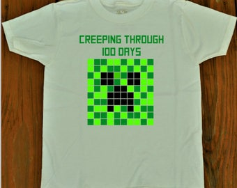 100 Days of School shirt Boys Minecraft Creeper shirt