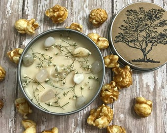 6 oz Caramel Popcorn scented Candle, Botanical Candle, Crystal candle, Infused candle,Food scented candle, Gemstone candle, Holiday Candle