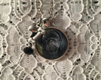 Pug Puppy Charm Necklace/Pug Puppy Jewelry/Pug Puppy Pendant/Pug Jewelry/Pug Necklace/Pug Pendant
