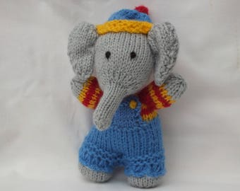 Hand Knitted Animals, Handmade Elephant, Stuffed Small Soft Boys Toys, Baby Boy Shower Gift