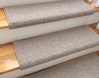 Tweed Linen Taupe Ecco Tex Blend New Zealand Wool TRUE Bullnose™ Carpet  Stair Tread Runner