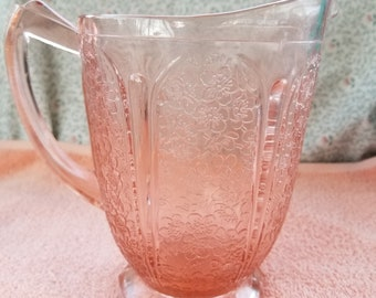"Vintage Jeannette Glass Pink Cherry Blossom 6 3/4"" Pitcher"