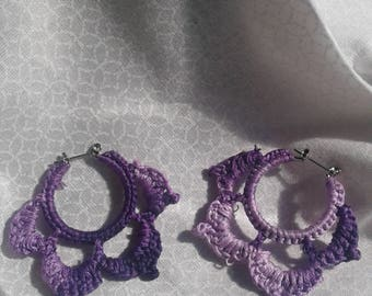 crocheted purple flower earrings