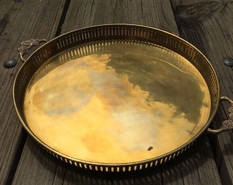 BRASS Tray- Made in India- with handles- display