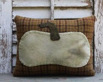 Vintage Wool Pumpkin Pillow | Pumpkin Pillow | Handstitched | Handsewn | Vintage Wool