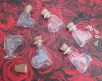 2 vials glass leaning heart 27 * 15 * 6 mm with screw-screw