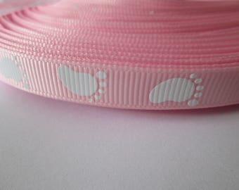 Pink grosgrain Ribbon 10 mm the meter baby feet