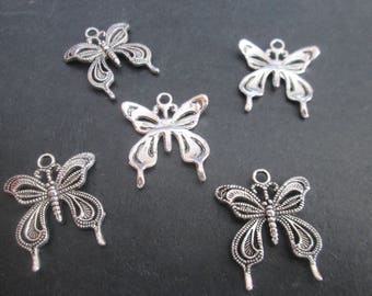 Openwork 10 Butterfly charms and silver plated 25 x 25 mm