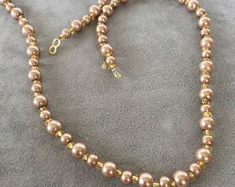 Beige beaded long necklace, pearls