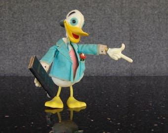 Disney Professor Ludwig Von Drake | Duck Toy Figure | Marx Toys | c. 1961 | Jiminy Cricket | Twistable Toy | Walt Disney Productions | HK264