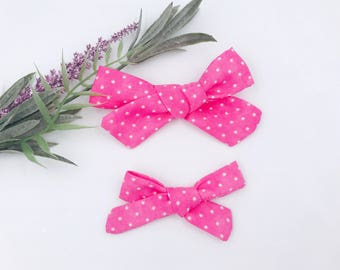 Baby Girl hand tied Bow - Nylon Headbands - Hair clip - Infant / Toddler /  Fabric Hair Bows / Clips - dark pink polka dots
