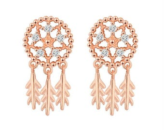 Rose Gold Dream Catcher Earrings