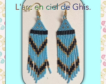 Earrings with fringe.