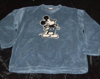 Blue Disney Mickey Mouse Fleece Pullover Hooded Sweater - Size Large