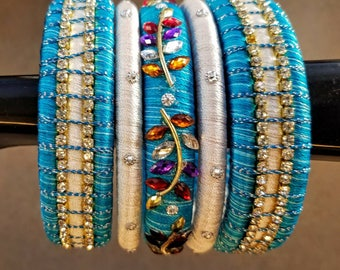 Silk bangles blue and white, set of 5.  wrapped silk bangles India rhinestones Size 2.6 gift for her