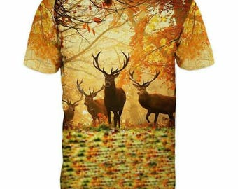 New ultramodern 3D  High Quality  Print Deer Real Nature short Sleeve t-shirt