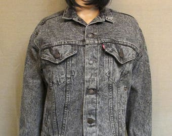 "Vintage 1990's NWT Levis Black ""Electric"" Stonewashed Denim Trucker Cowboy Jean Jacket Size XS/S 57508"