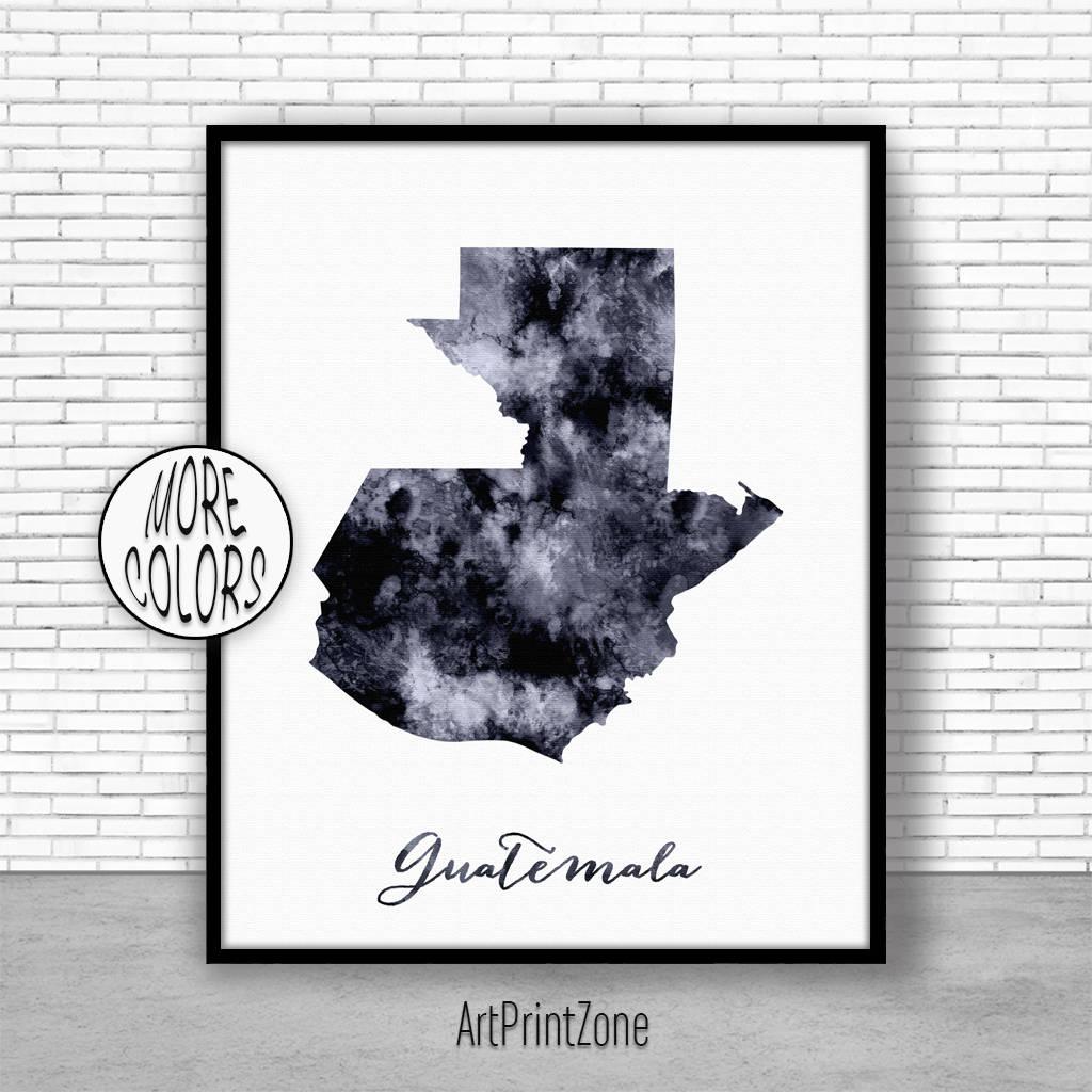 Guatemala Print Office Art Print Watercolor Map Guatemala