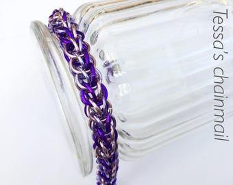 Chainmaille bracelet, purple bracelet, lilac bracelet, chainmaille full persian,