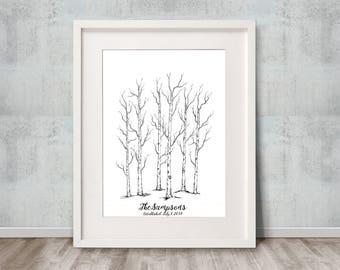 Bending Birch / Wedding Guest Book / Thumbprint Guest Book / Fine Art Print / 16x20 / 70-90 Guests