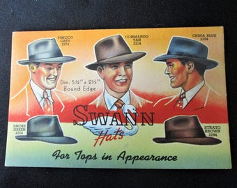 1940s Swann Hats Ink Blotter Mens Hats Advertising Unused Rare Vintage
