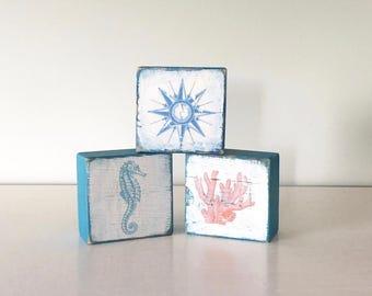 Blocks - Coral - Compass - Sea Horse - Nautical -  Reclaimed Barn Wood - Vintage - Sapphire Blue