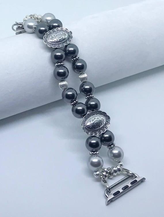 "Apple Watch Band, Women Bead Bracelet Watch Band, iWatch Strap, Apple Watch 38mm, 42mm, Swarovski Black & Silver Pearl Size 6 1/2"""