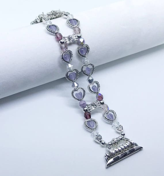 Apple Watch Band, Women Bead Bracelet Watch Band, iWatch Strap, Apple Watch 38mm, 42mm, Silver Hearts Purple Cats Eye Beads Size 6 3/4""