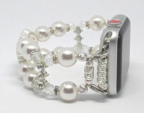 Apple Watch Band, Women Bead Bracelet Watch Band, iWatch Strap, Apple Watch 38mm, 42mm, White Swarovski Pearls, Clear Glass Beads Size 6 3/4