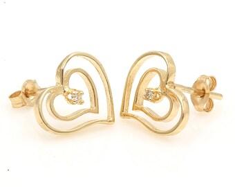 Diamond Earrings, 0.04ct, 14K Gold (14ER254)