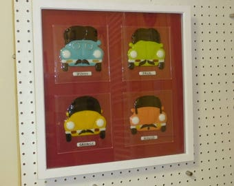 "The ""Beatles"" Beetles - unique fused glass framed picture."