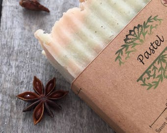 Peppermint-Star anise soap, Essential oils, Rustic soap look, Hot process soap, colored by clay, big bar soap, pastel colors soap, natural