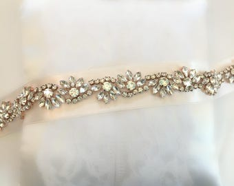 Rose Gold Wedding Belt, Rose Gold Bridal Belt, Gold Bridal Belt, Gold Bridal Sash, Thin Rhinestone Bridal Sash, Champagne Blush Belt