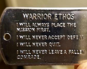 Army Values/Warrior Ethos Dog Tags