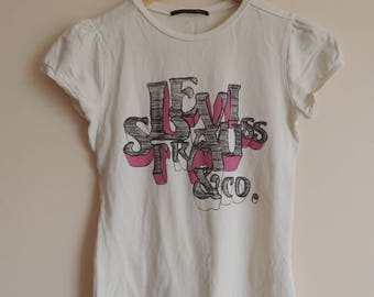 FREE SHIPPING - LEVI'S white t-shirt with pink and black lettering, size 12
