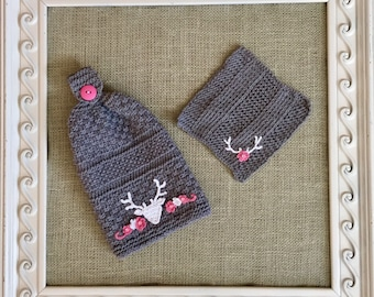 Handmade Knitted Hanging Hand Towel/ Dishcloth Set - Grey