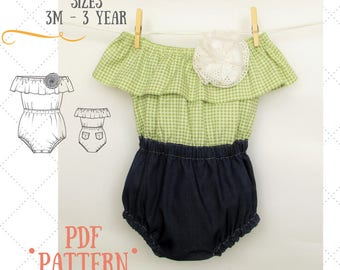 Baby romper PDF sewing pattern - Bubble Romper PDF - Sunsuit PDF - Playsuit pattern - Sewing patterns for baby - Alina Baby Pattern