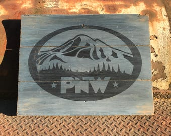 Rustic PNW wood sign, Weathered wood decor, Rustic Mt Baker sign, Recycled wood art