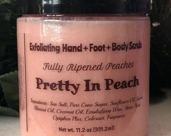 Pretty In Peach Hand & Foot Sugar Scrub / Handmade FREE SHIPPING (US)