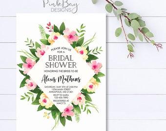 Floral Bridal Shower Invitation, Spring Bridal Shower Invite, Garden Bridal Shower Invitation, Spring Floral Invitation, Printable Invite