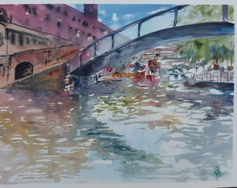 "Original Watercolour Painting ""Camden Lock"" Landscape. Watercolour Painting. Signed by Artist"