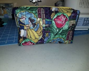 Disney Beauty And The Beast stained glass cosmetic bag