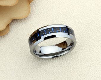 Inside Engraving Personalized Tungsten Carbide Wedding Band Promise Ring 6mm Blue Carbon Fiber Inlay Tungsten Ring- ZDPTR158
